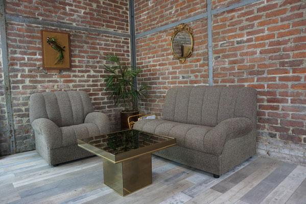 Salon vintage modulable 1 fauteuil et sa méridienne