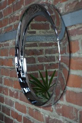 Miroir excentré vintage en métal chromé 1970