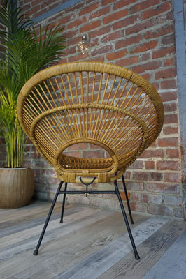 Paire de fauteuils soleil en rotin design années 50 par Janine Abraham, Dirk Jan Rol