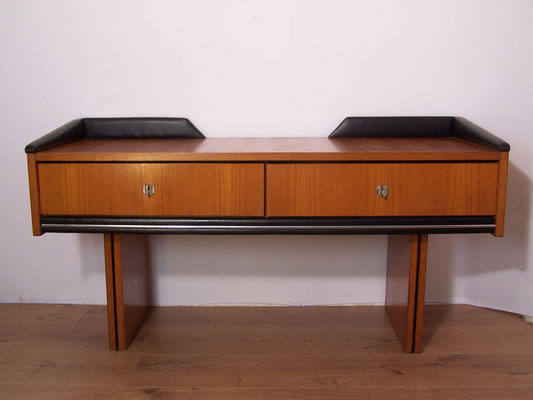 Coiffeuse vintage / meuble d'entrée avec miroir ovale années 60