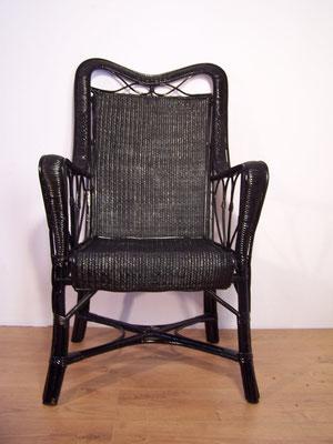 Paire de fauteuils anciens en rotin et osier années 1950 - 60