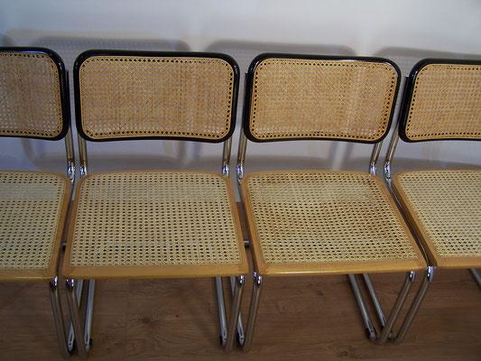 Série de 4 chaises bicolores, Marcel Breuer B32