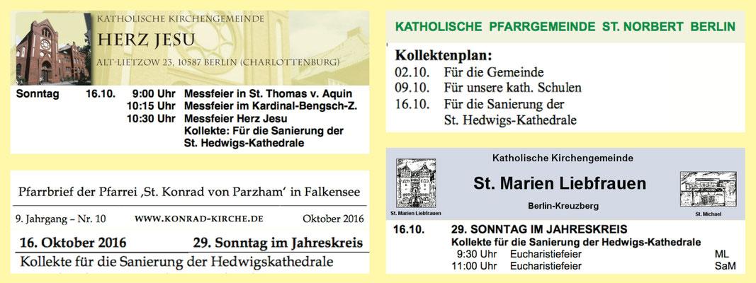 """Beispiele für die angekündigte Kollekte """"für die Sanierung der St. Hedwigs-Kathedrale"""" in verschiedenen Pfarrbriefen"""