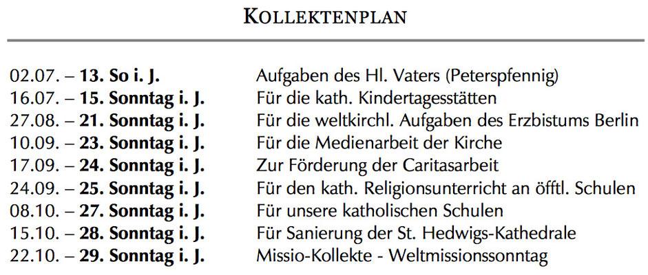 Kollektenplan im Pastoraler Raum Friedrichshain-Lichtenberg Berlin