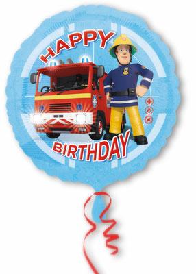 """""""Happy Birthday"""" - Feuerwehrmann Sam,  Folie, einzeln verpackt 43cm"""