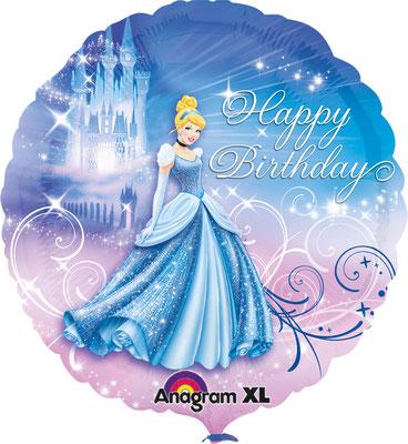 """""""Happy Birthday"""" - Cinderella, Folie, einzeln verpackt 43cm"""
