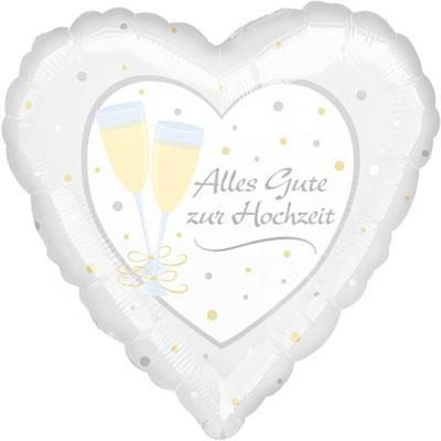 """""""Alles Gute zur Hochzeit"""" - Herzform, Folie, einzeln verpackt 43cm"""