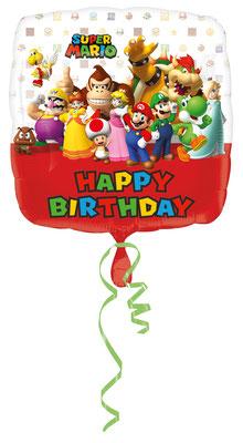 """""""Happy Birthday"""" - Mario Bros., Folie, einzeln verpackt 43cm"""