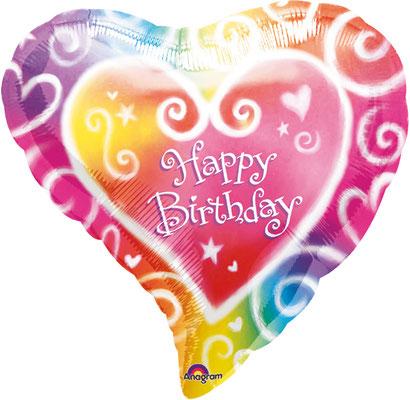 """""""Happy Birthday""""- Herzform, Folie, einzeln verpackt 43cm"""