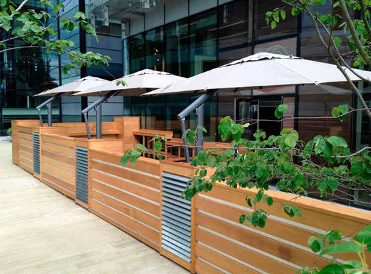 Strutture removibili ombrelloni per esterni for Arredi esterni per bar e ristoranti