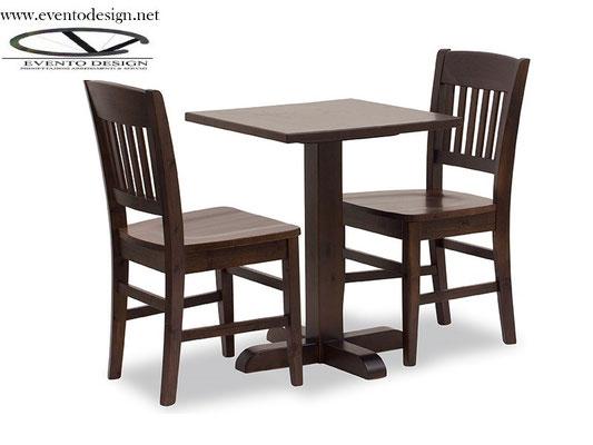 art.25 tavolo 70x70x3 e sedia veronica tinta noce