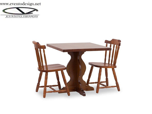 art.13 tavolo fratino 80x80 con sedia old america sedile legno