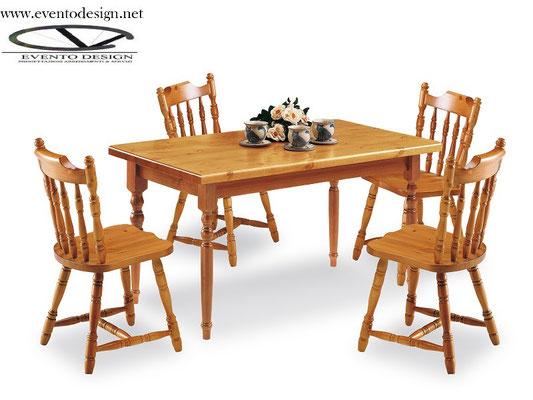 art.17 sedia old america con tavolo 120x80x3 tinta miele