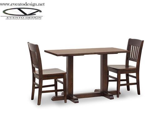 art.27 tavolo 130x70x3base a torre doppia e sedia veronica tinta noce