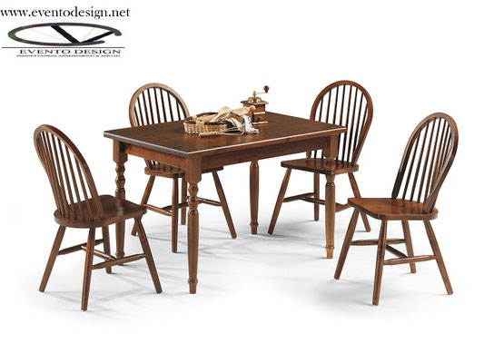 art. 16 sedia arco con tavolo a  gamba tornita mis. 130x80x3