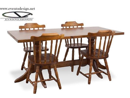 art.18 tavolo 180x80x4 con gamba doppia tornita e sedie old america