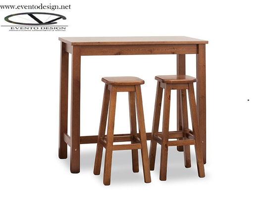 art.22 tavolo alto 120x70x3 con sgabello alto con sedile legno