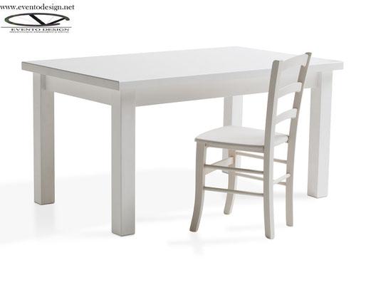 art.90 tavolo 130x80x3 sedia venezia bianca