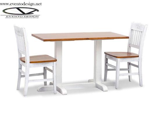 art.31 tavolo 130x70x3 base a torre doppia h.110 vintage
