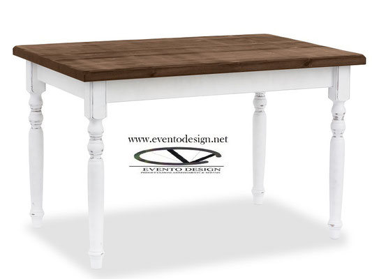 art.15 tavolo 130x80x3 gamba tornita piano tinto noce struttura tinta bianco