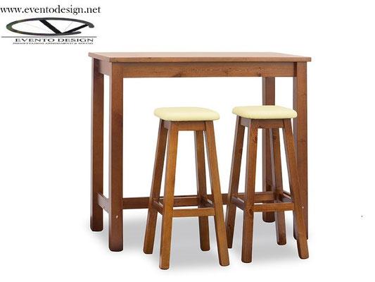 art.21 tavolo alto 120x70x3 con sgabello alto con sedile imbottito