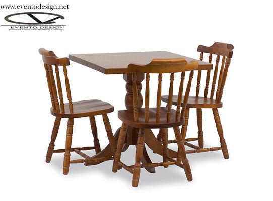 sedia old america con tavolo 80x80x3 gamba tornita ART. OLD 122