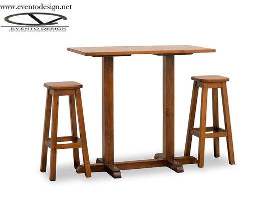 art.22 tavolo alto 120x70x3 gamba a torre con sgabello alto con sedile legno