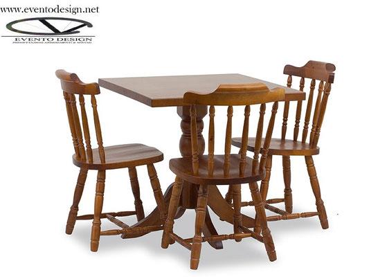 art.14 tavolo 80x80x3 con gamba tornita sedie old america sedile legno
