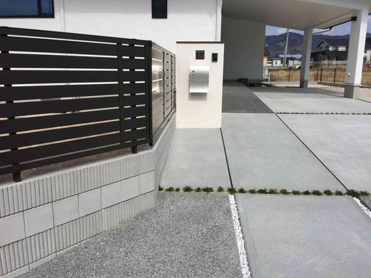 コンクリートの洗い出しのアプローチから門塀へ