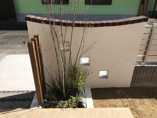 玄関前にはシンボルツリーと寄せ植え