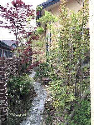 レンガの塀と石張りの小道