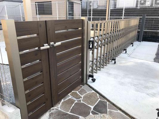 アルミ門扉とペットガード付き伸縮門扉