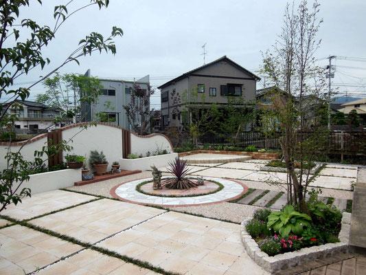 目隠しの化粧塗り壁と石張りサークルが素敵なお庭