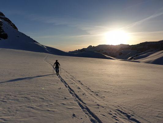 Einsame Morgenstimmung auf dem Gletscher
