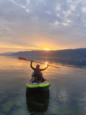 schöner Sonnenuntergang auf dem Bielersee
