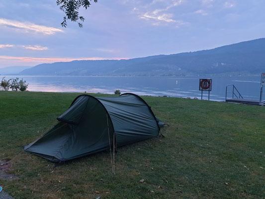 unser Biwakplatz am Bielersee