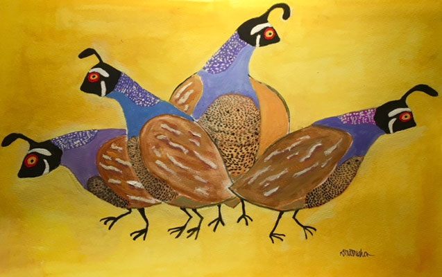 "Four Quail, gouache on paper, 20x24"" framed"