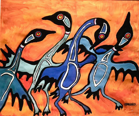 Quartet of Dancing Blue Geese