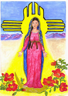 "Virgin of Albuquerque, mixed media on paper,  22x18"" framed"