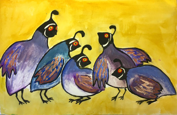 "Five Quail, gouache on paper, 19x24"" framed"