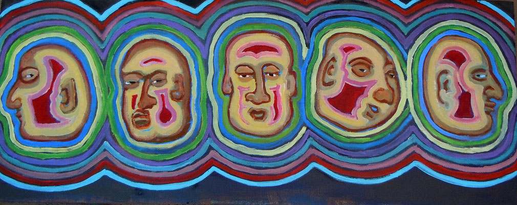 "Turning Man, acrylic on canvas, 12 x 30"""