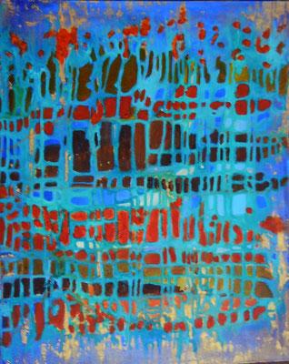"Mermaid, acrylic on canvas board, 16 x 20"""