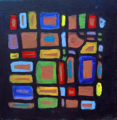 "Semaphore, acrylic on canvas board, 12 x 12"""