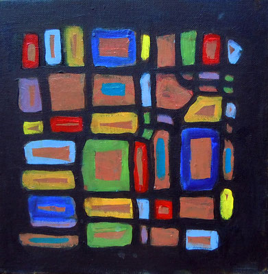 Semaphore, acrylic on canvas board,  framed 12 x 12""