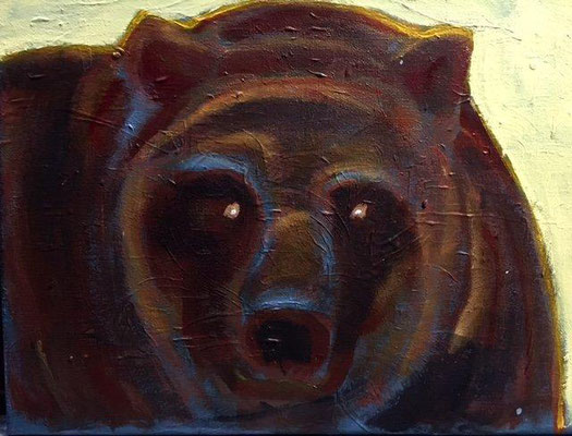 Spirit Bear, acrylic on canvas, 11 x 14""