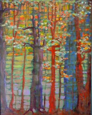 "RedTrees, acrylic on canvas board, 16 x 12"""
