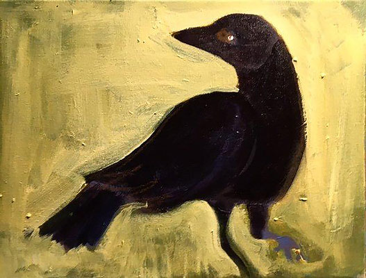 Spirit Crow, acrylic on canvas, 11 x 14""