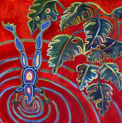 "Huichol Frog, acrylic on canvas, 30 x 30"""
