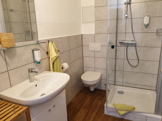 Dusche, Waschbecken und Toilette