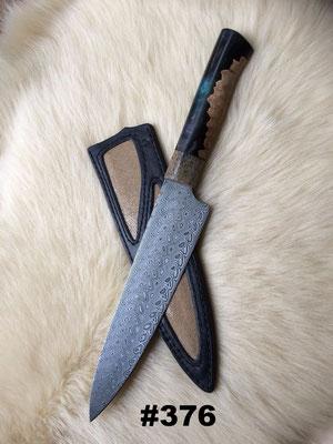 """Klinge: Damasteel """"Thor""""; Griff: fossiler Wisentknochen, Hybridholz; Transport- und Aufbewahrungsscheide aus Leder mit Perlrocheneinlage"""